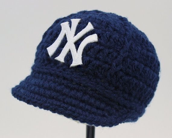73c00f83b0e Baby Yankees Cap - Hat - Knitted   Crochet - Baby Gift   Newborn - New York  Yankees - Photo Photography Prop - Baseball on Etsy