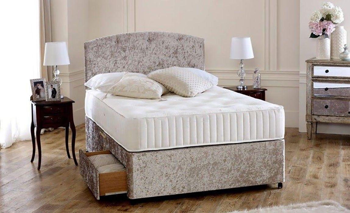 3c237f5228a Premium Cream Crushed Velvet 5ft King Size Divan Bed Base only ...