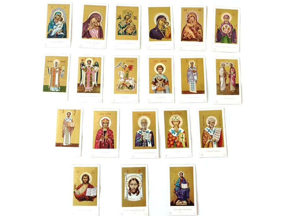 Lot of Memorial Funeral Cards Christian Orthodox Religious