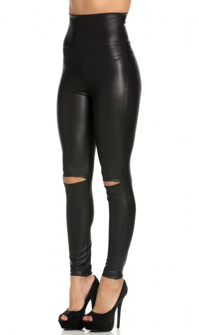 ba0b8a6a6a8 Super High Waisted Knee Slit Faux Leather Leggings in Black (Plus Sizes  Available)