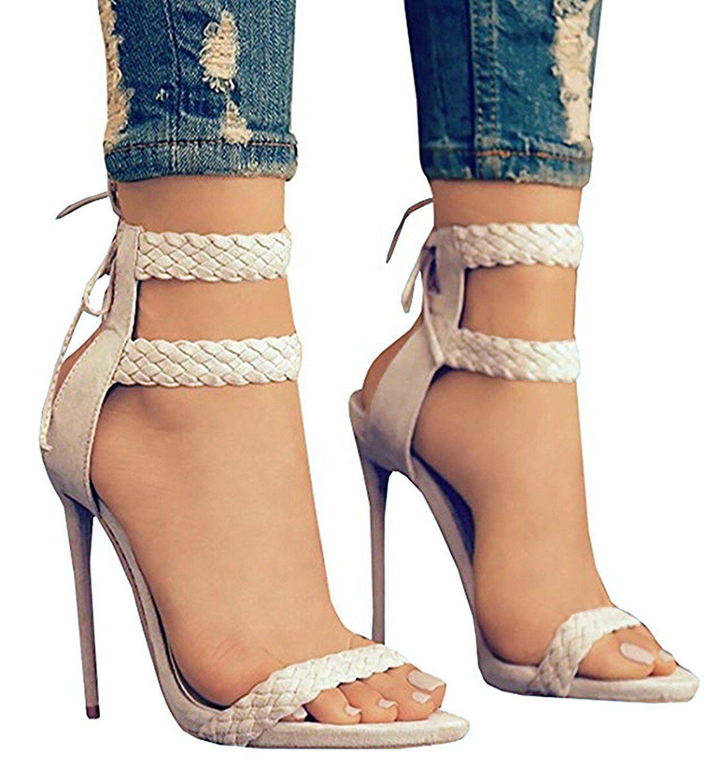 Amazoncom  Dellytop Womens Ankle Strap Open Toe Weaving Stiletto Heel  Dress Sandals