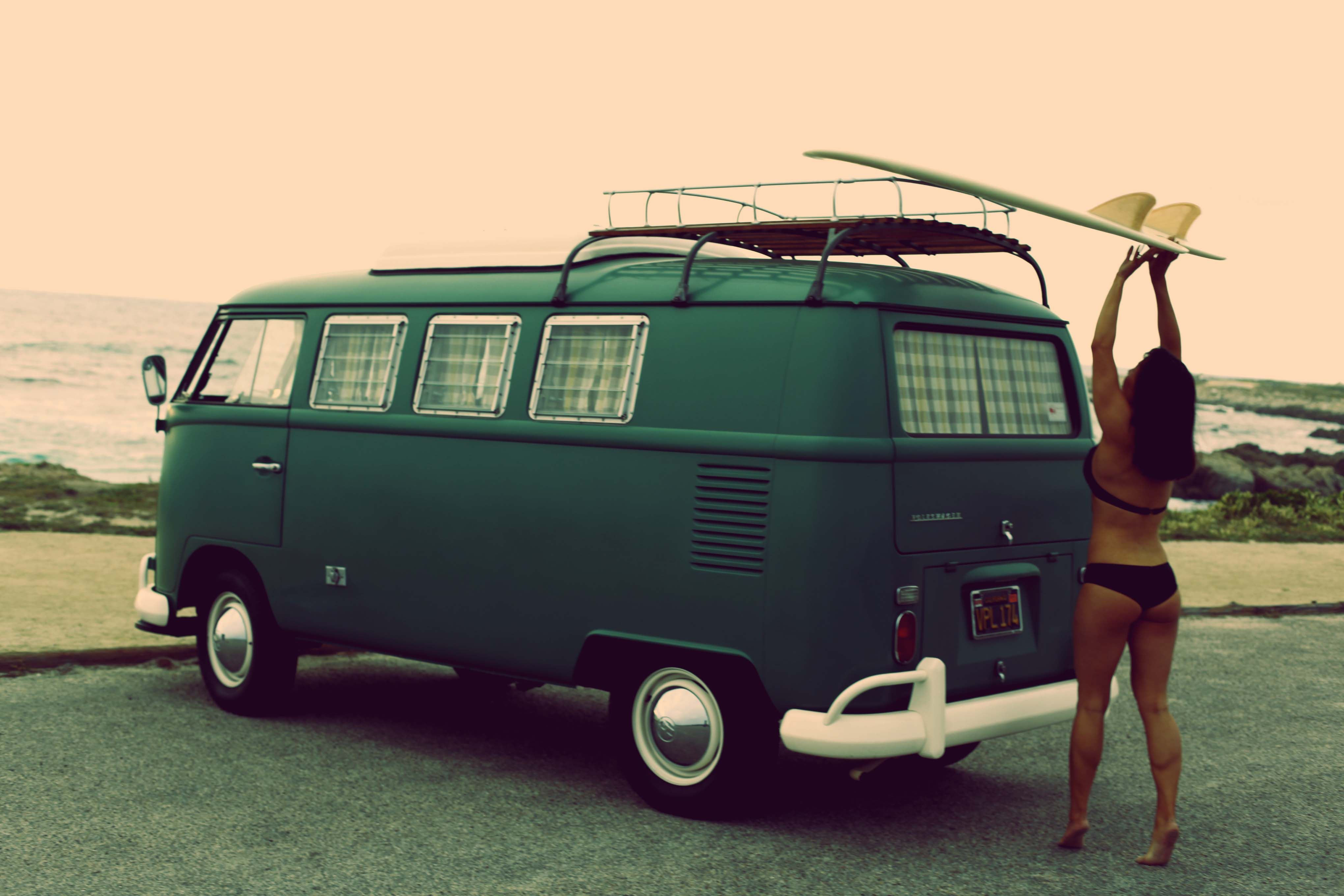 surfer girl pebble beach vw bus volkswagen vw bus. Black Bedroom Furniture Sets. Home Design Ideas