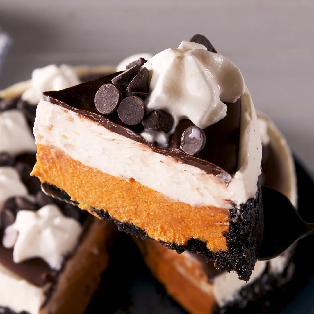 Chocolate-Pumpkin Mousse Cheesecake