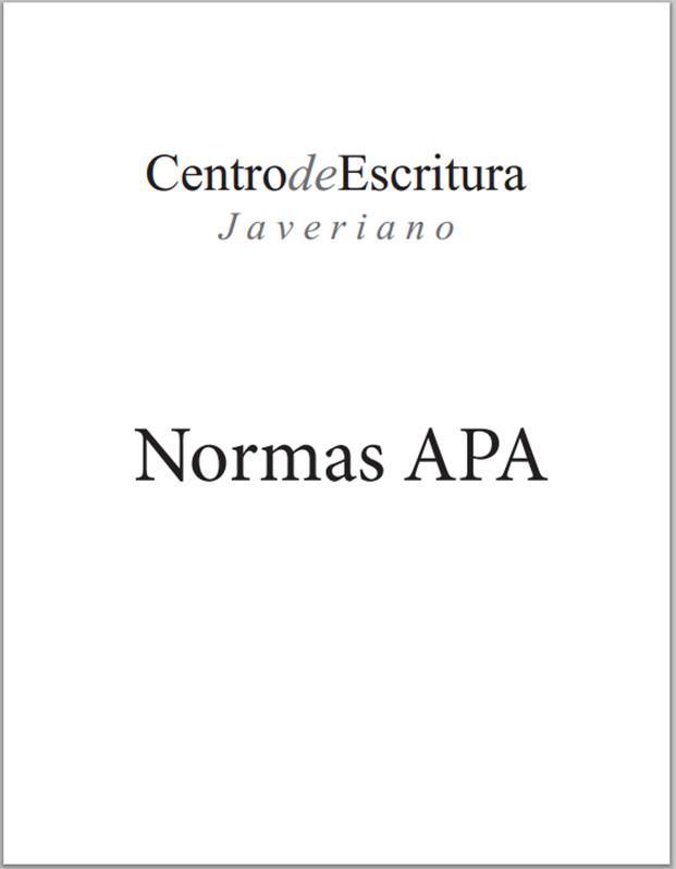 Centro de escritura Javeriano: Normas APA para los escritos ...