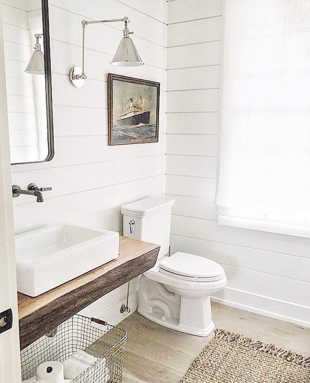 Shiplap Bathroom Vanity: White Shiplap Bathroom, Polished Nickel Sconce, Vintage