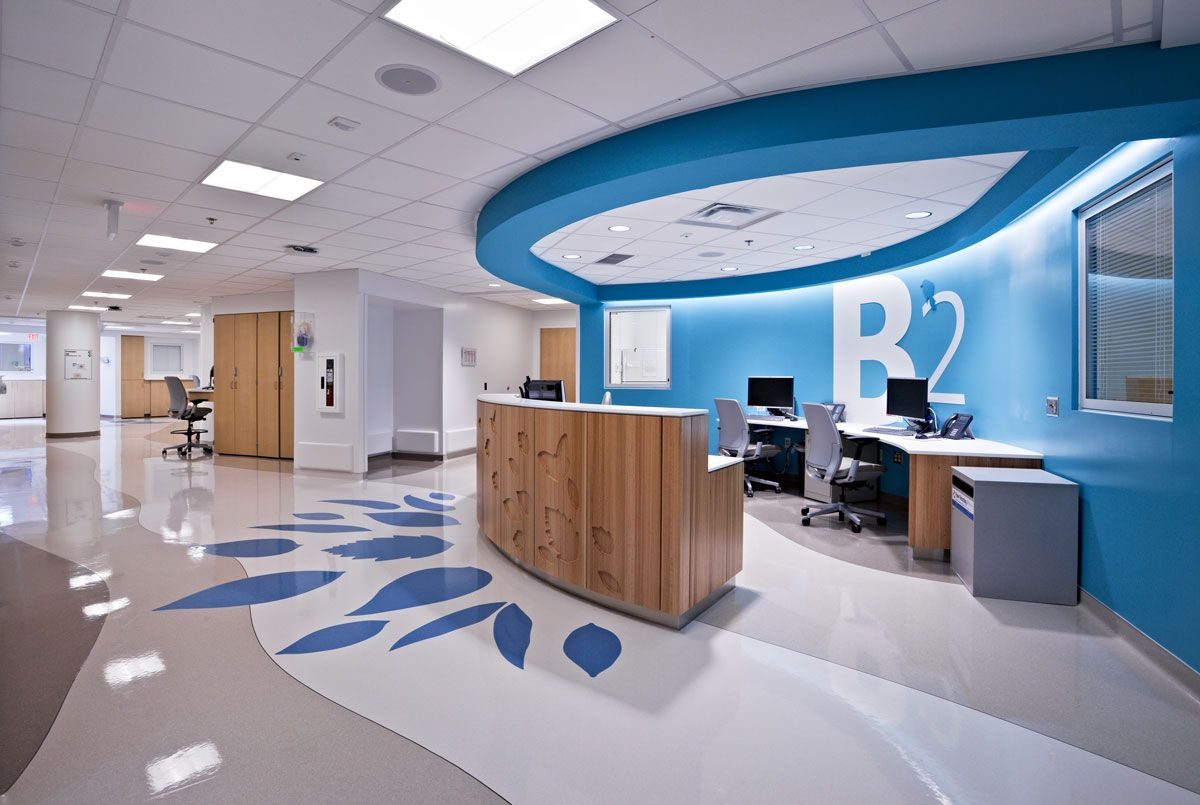 Modern hospital interior - Nationwide Childrens Hospital Nursing Station B2 Jpg