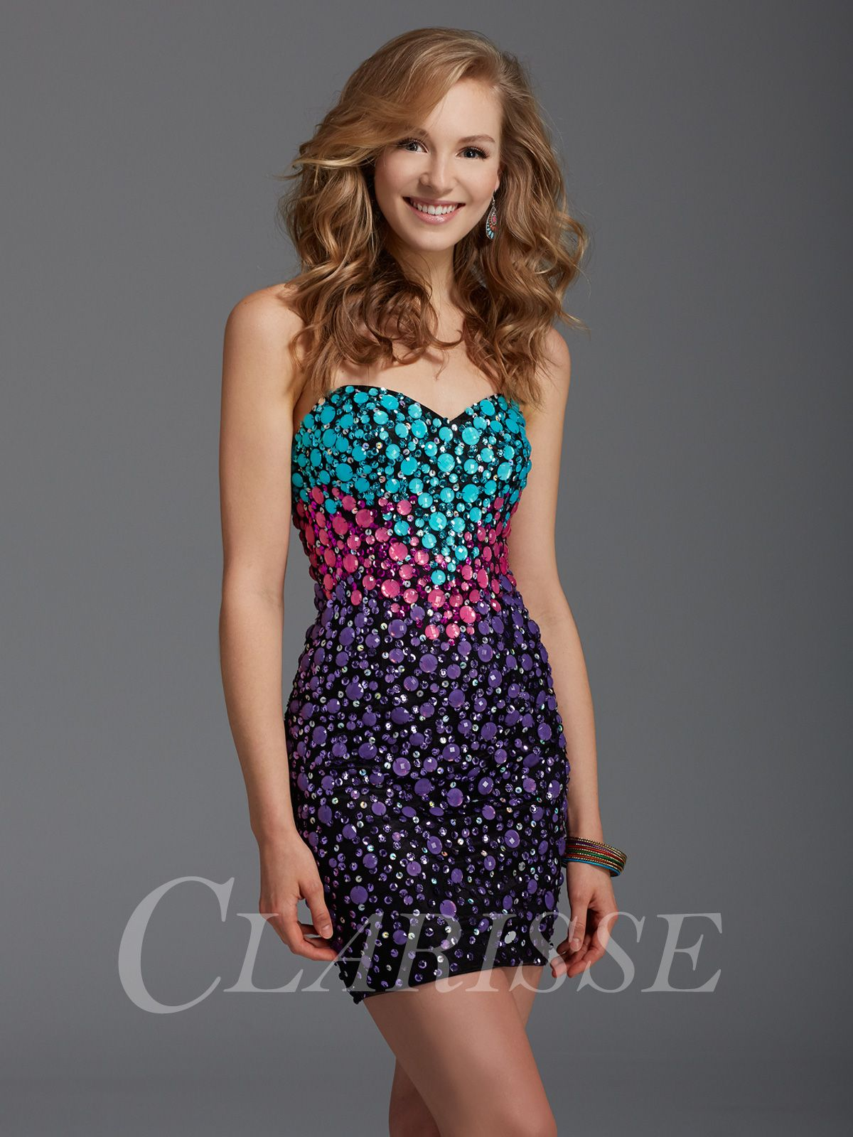 76ac7957de Clarisse Colorful Embellished Homecoming Dress 2936