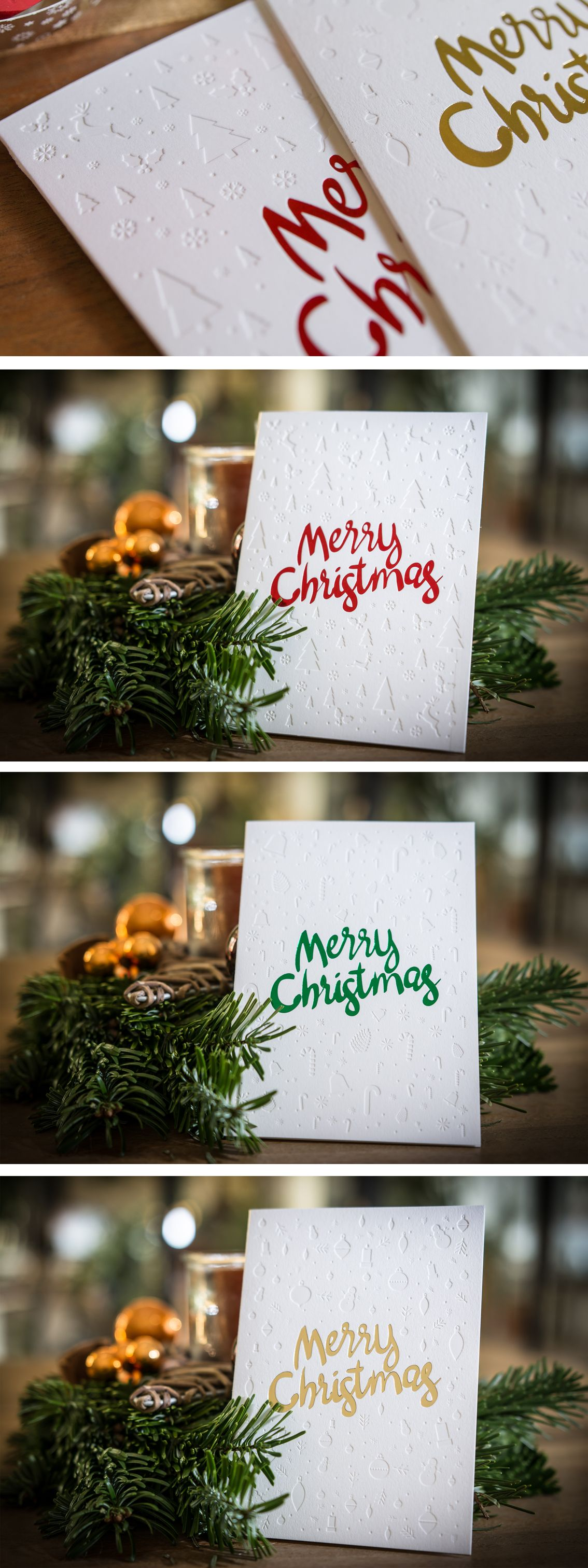 Letterpress Weihnachtskarten.Christmas Cards With Deep Impression And Hotfoilstamping In Gold