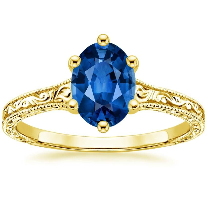 Blue Sapphire Hudson Engagement Ring - 18K Yellow Gold