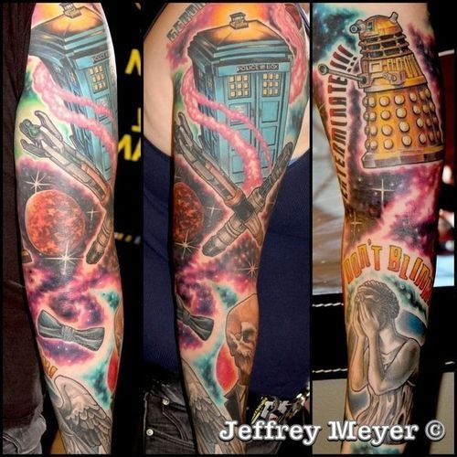 Doctor Who Tattoo Half-Sleeve (at Least For Now) On