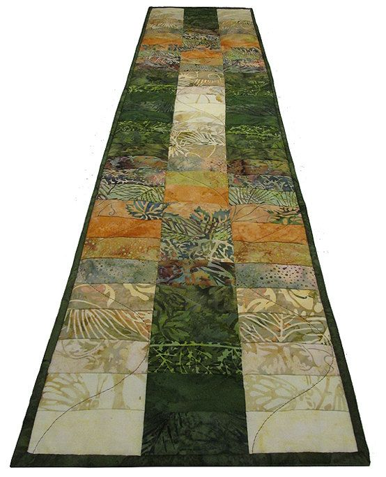 Quilted Table Runner Autumn Island Batik by ForQuiltsSake on Etsy