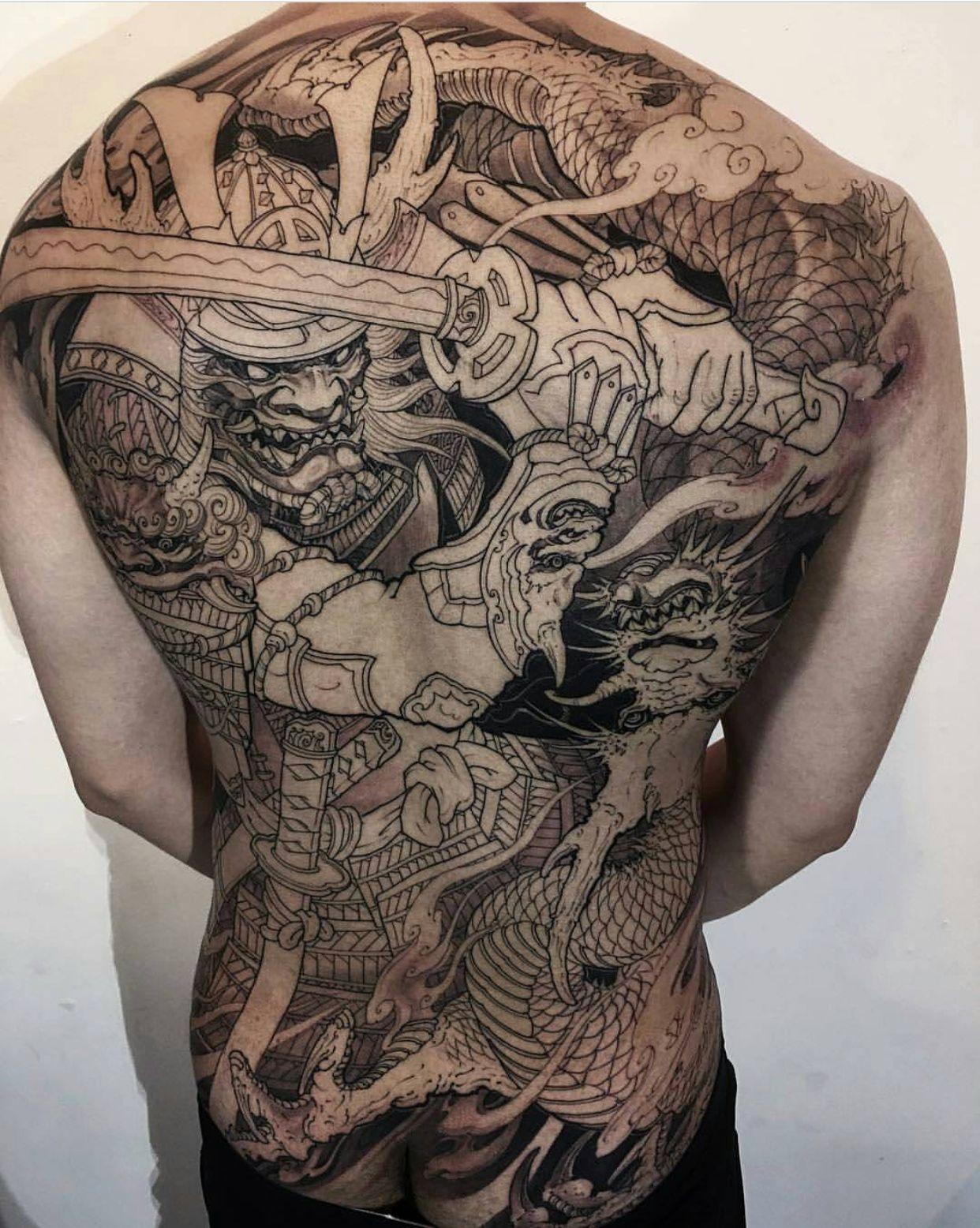 11f994345 Piece of Japanese samurai Done by artist : Tony Hu Location : Toronto ON,  Canada IG: @tonyhu_chronicink
