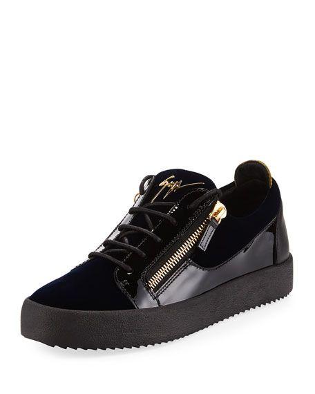 GIUSEPPE ZANOTTI Men'S Velvet & Patent Leather Low-Top Sneaker, Blue.  #giuseppezanotti