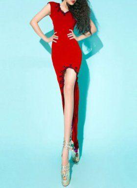 Red Backless High Low Dress [dressxl5.15.2.25] - $45.00 : EverMissFashion.com