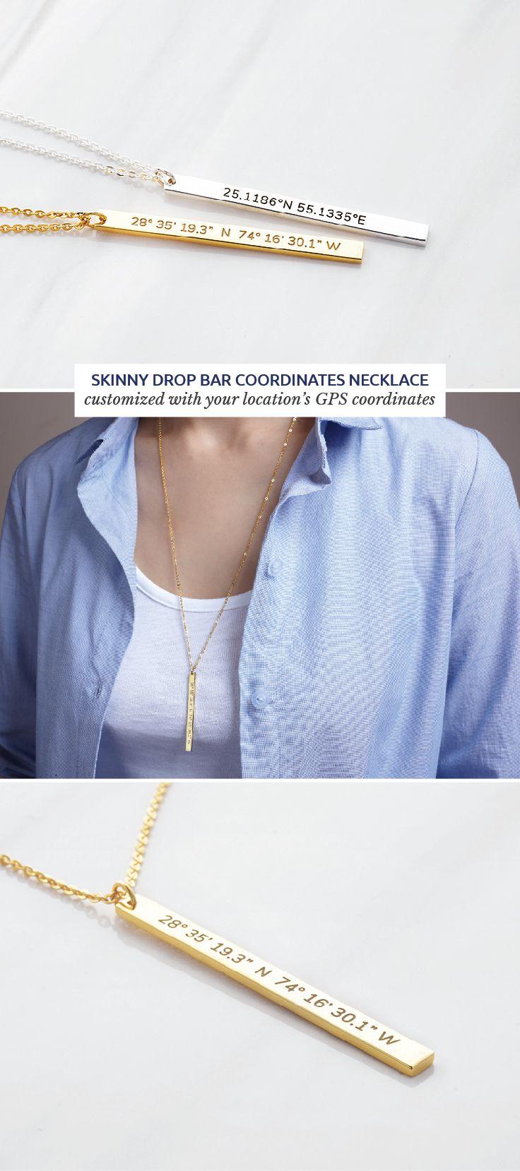 Latitude Longitude Necklace Skinny Drop Bar In 2019