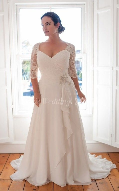 b3486f1afe8 A-Line Floor-Length V-Neck Half Sleeve Chiffon Sweep Train Lace Dress -  Doris Wedding