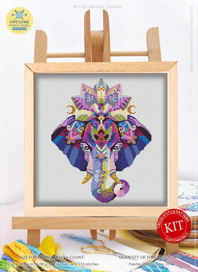 Embroidery Pattern Kit Fabrick and 4 Printed Color Schemes Inside Mandala Elephant K185 Counted Cross Stitch KIT#2 Threads Needles