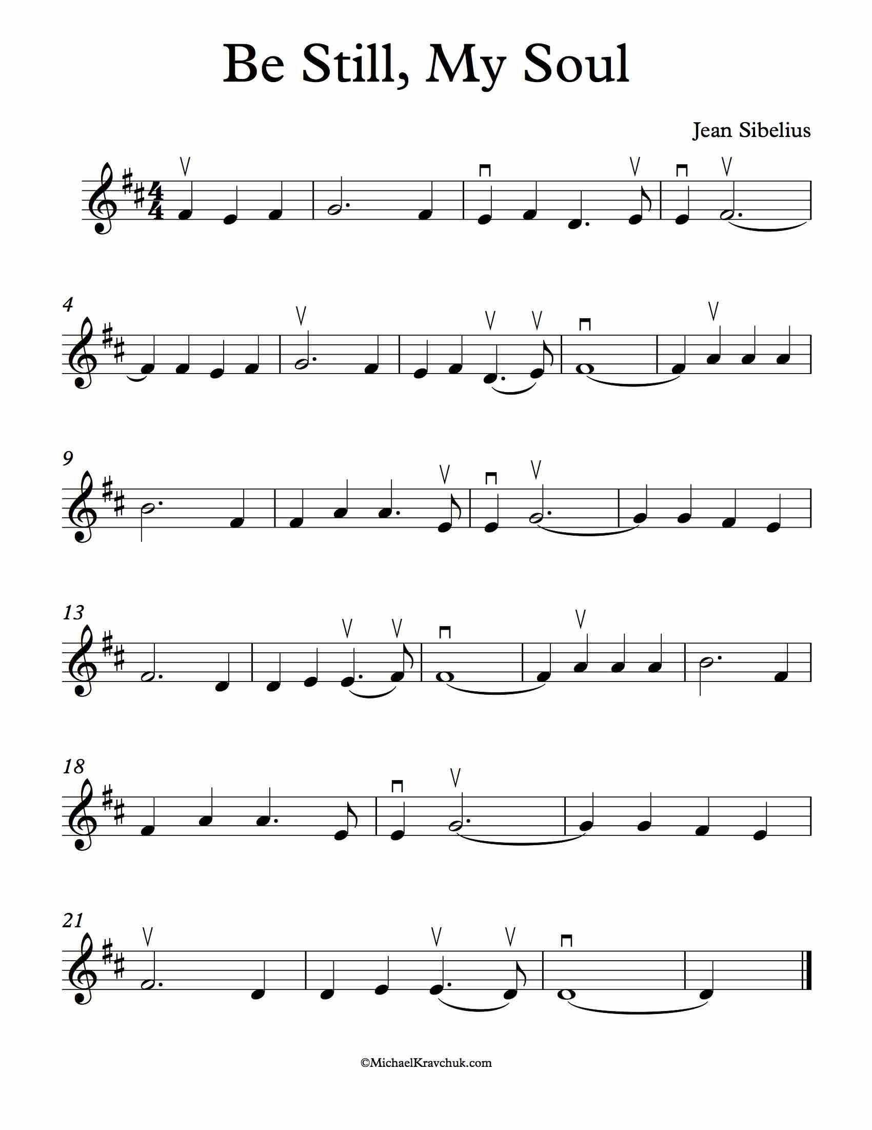 Be Still, My Soul Sheet Music Violin D Major # ...