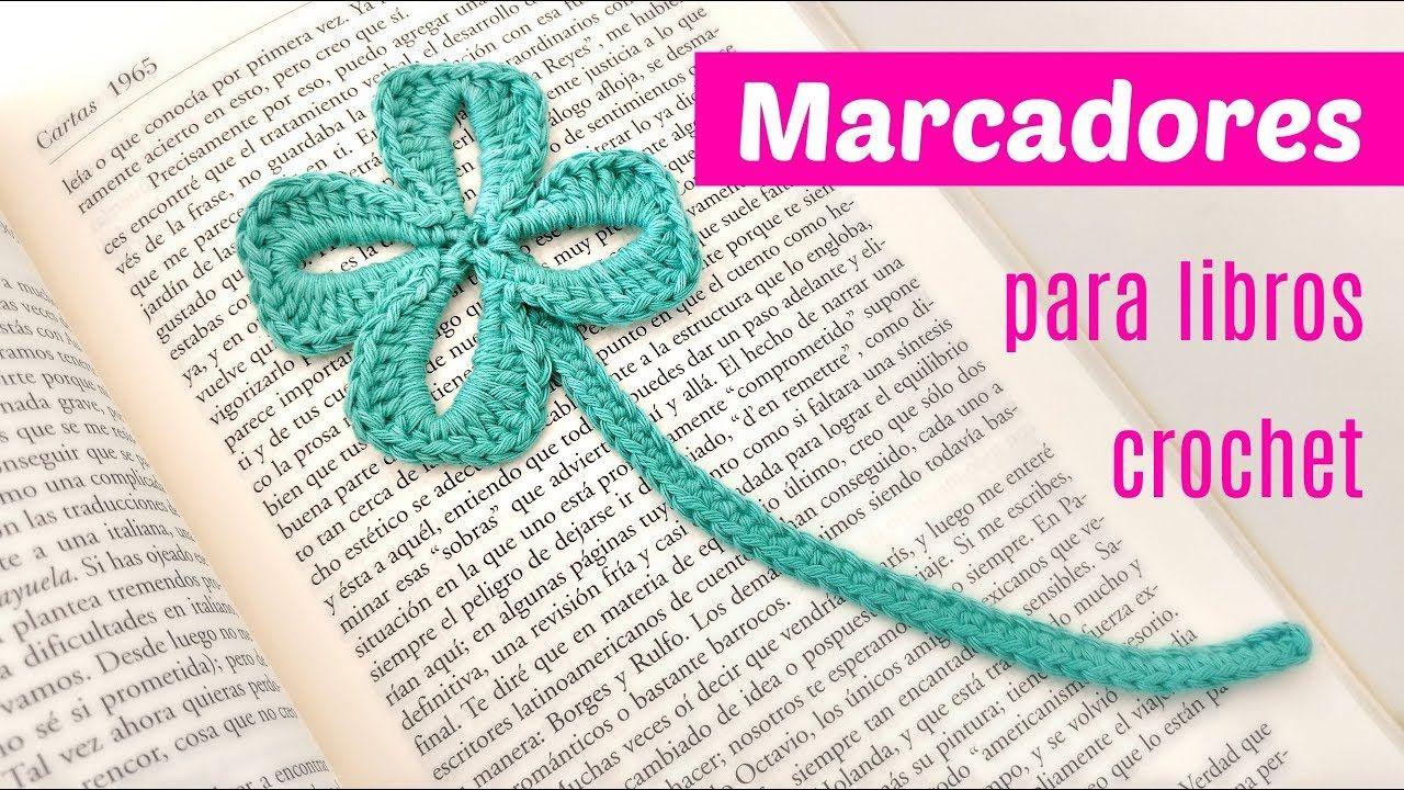 Marcadores crochet trébol de cuatro hojas ganchillo   marcapaginas ...