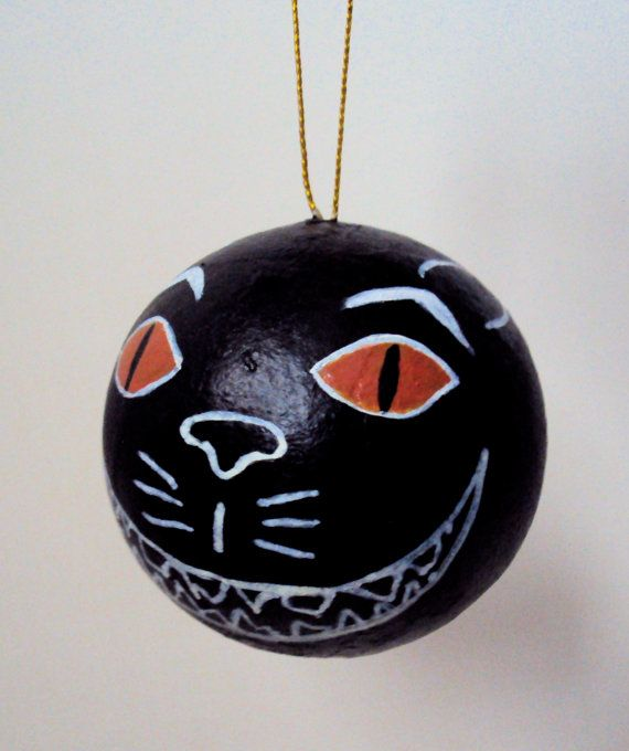 Scary Black Cat Ornament - Spooky Folk Art Decoration - Cute