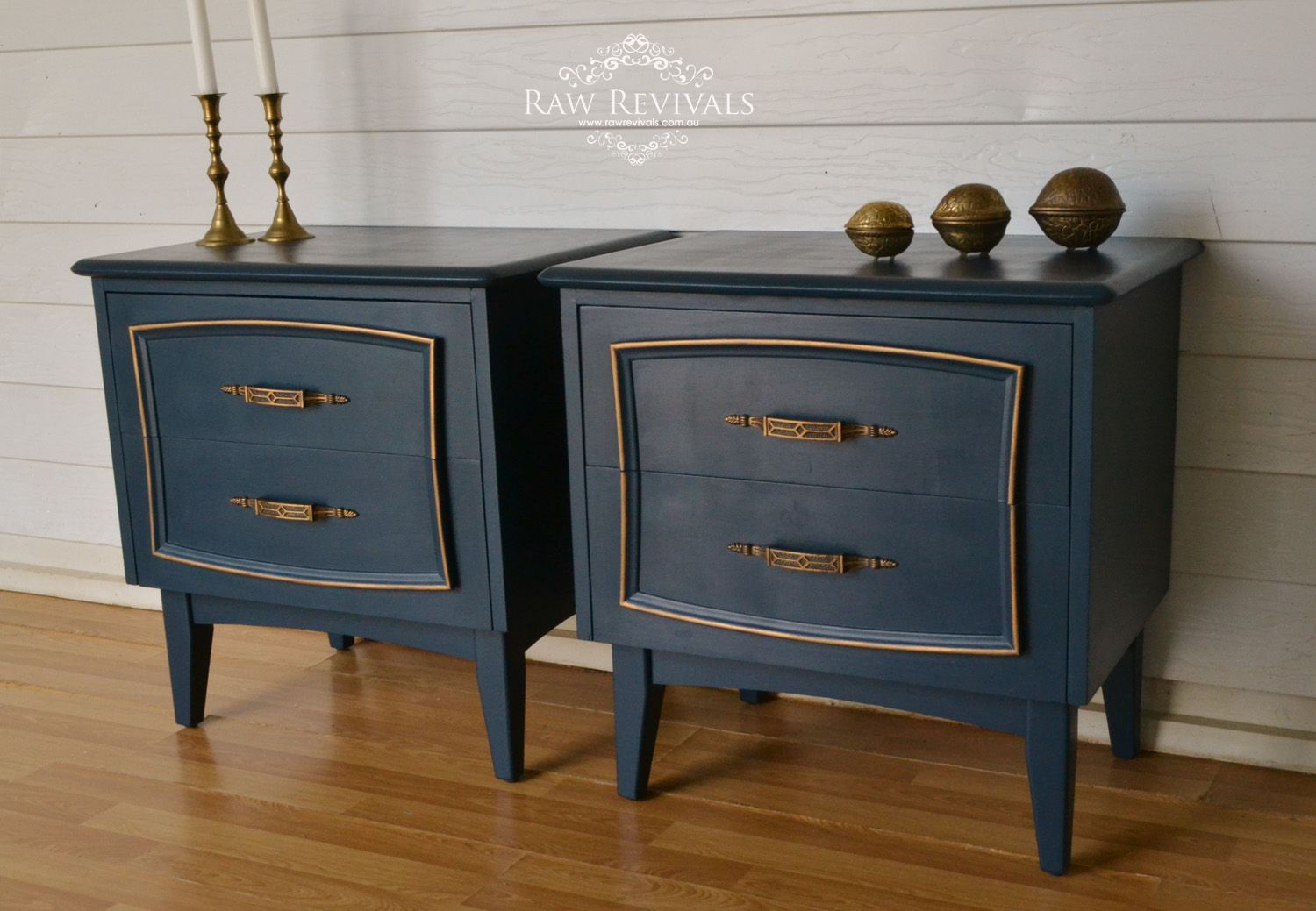 Retro Mid Century Bedside Tables. Navy Blue With Gold
