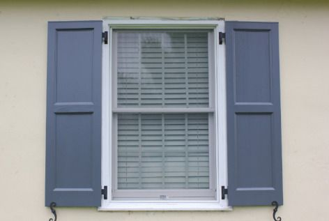 Flat panel shutters cool gray on stucco exterior - Flat panel exterior vinyl shutters ...