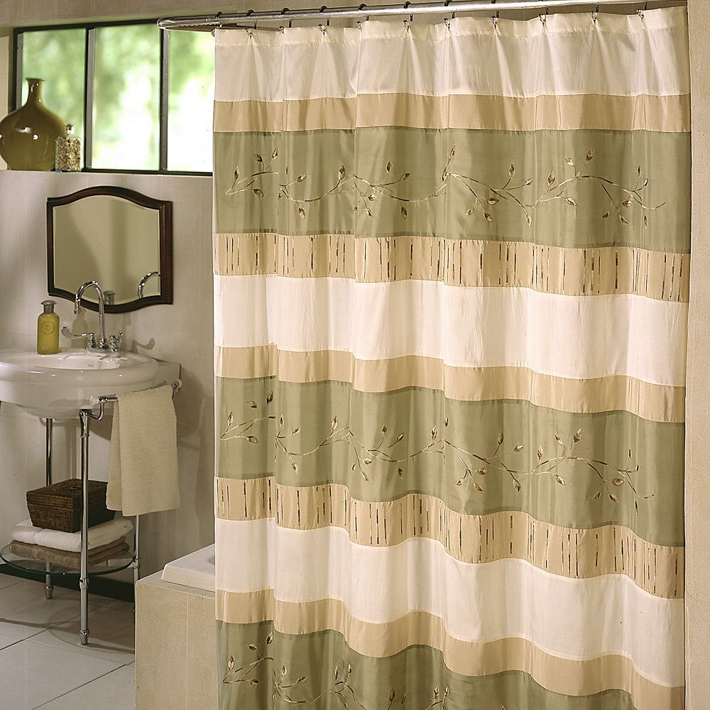 Excell Home Fashions Wasabi Pieced Fabric Shower Curtain Fabric