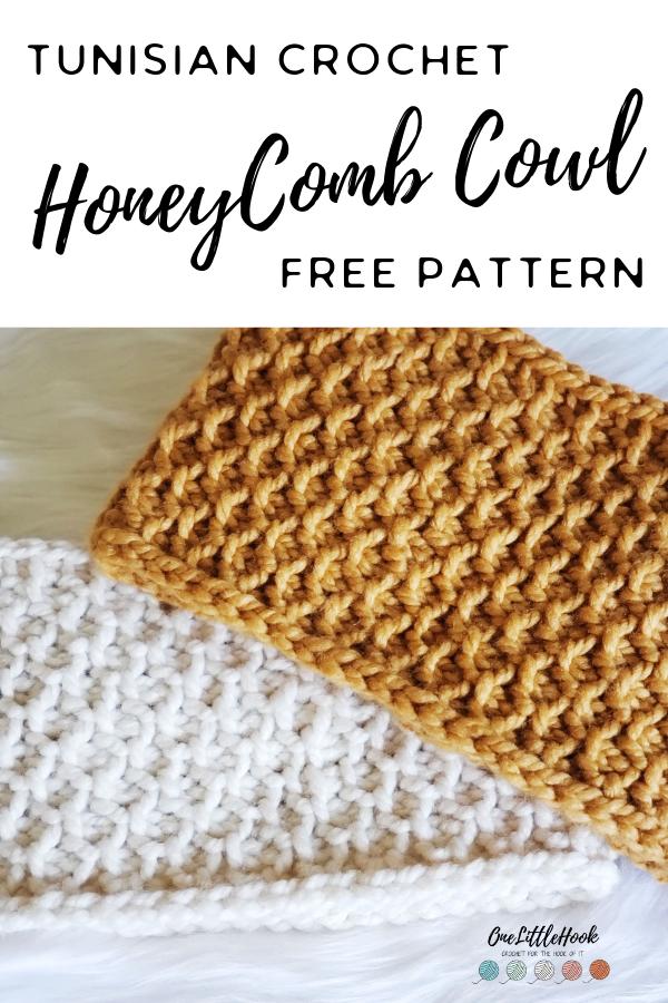 Tunisian Crochet Cowl, Honeycomb Stitch FREE Pattern #tunisiancrochet