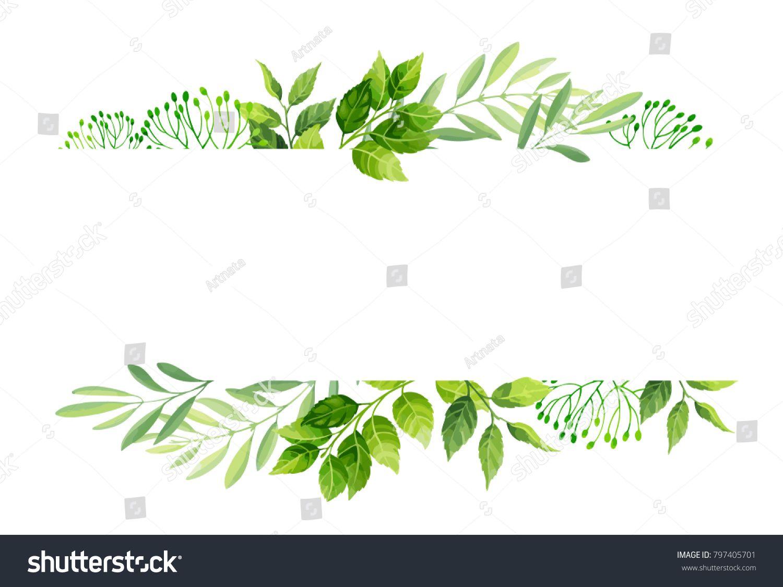 Green Leaves Frame Template Vector Illustration Vector Illustration Frame Template Illustration