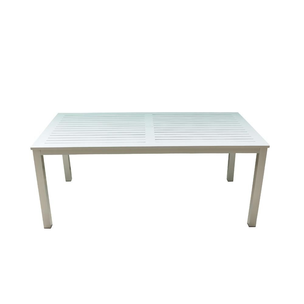 Courtyard Casual Skyline White Aluminum Outdoor Rectangle Dining Table 5080 The Home Depot Rectangle Dining Table Courtyard Casual Dining Table