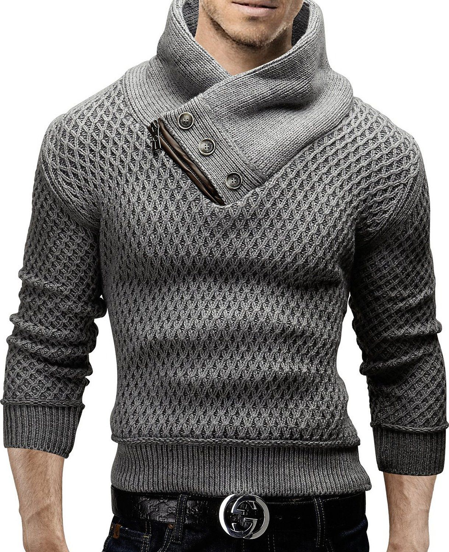 TAZZIO PulloverHerren StrickpulloverRundhals Strickjacke Sweatshirt Jacke