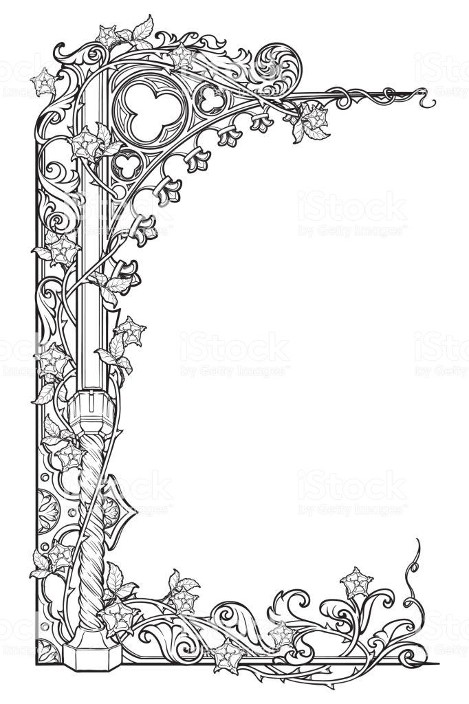 Medieval Manuscript Style Rectangular Frame Gothic Style Pointed Illuminated Manuscript Medieval Manuscript Gothic Books
