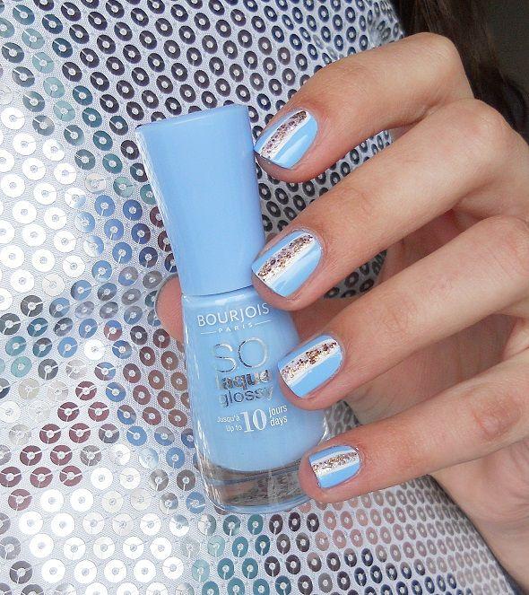 Blue Gold Nail Art Nails Pinterest Blue Gold Nails Gold Nail