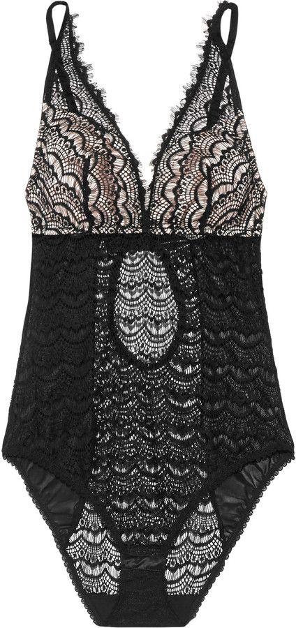 0d9e96be7068c Mimi Holliday by Damaris Bisou Bisou Sugar silk-trimmed lace bodysuit