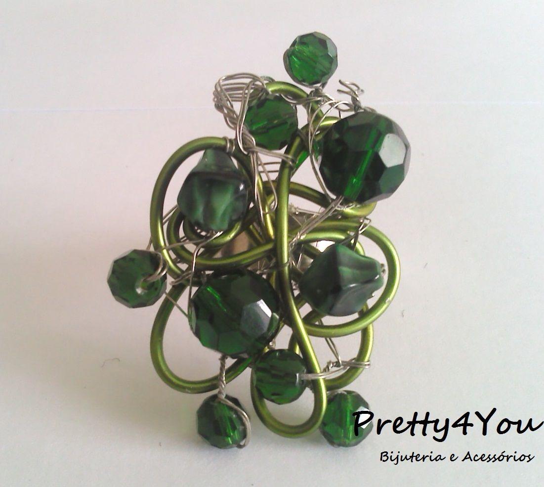 Anel em Arame com pedras em vidro - Pretty4You Bijuteria.