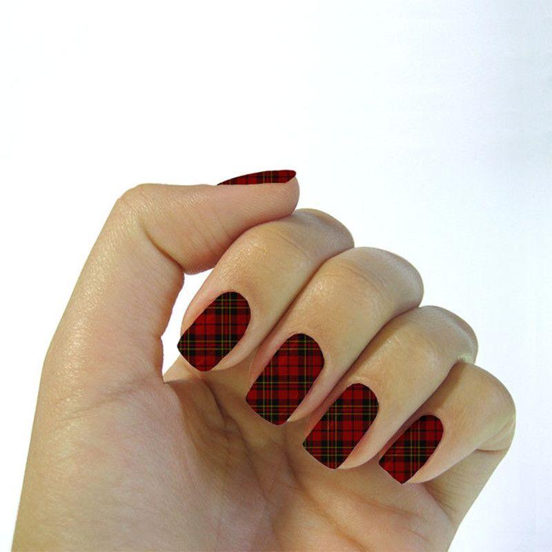 Charm Black Red Stripe Plaid Design Nial Stickers Water Transfer Foils Nail Art Decoration Sticker Decals Manicure