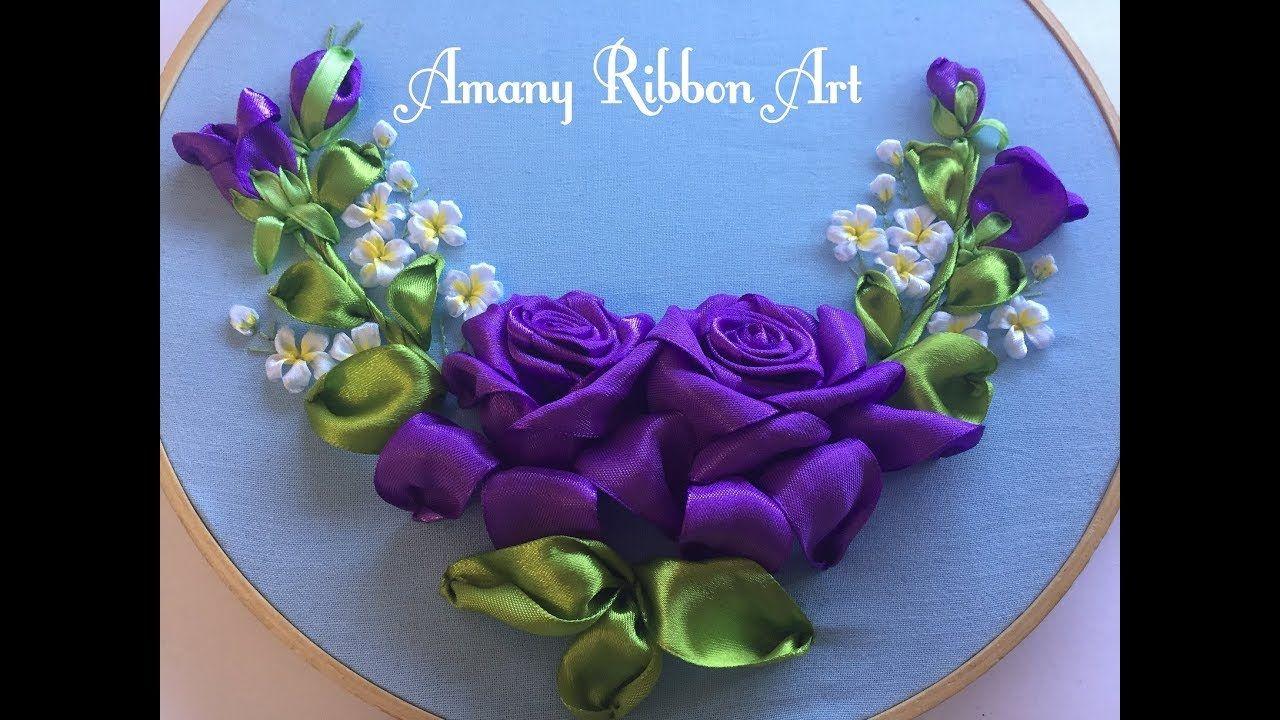 Amany Ribbon Art 117 لوحه 2 بكل تفاصيلها Ribbon Embroidery Silk Ribbon Embroidery Ribbon Embroidery Silk Ribbon Embroidery Patterns