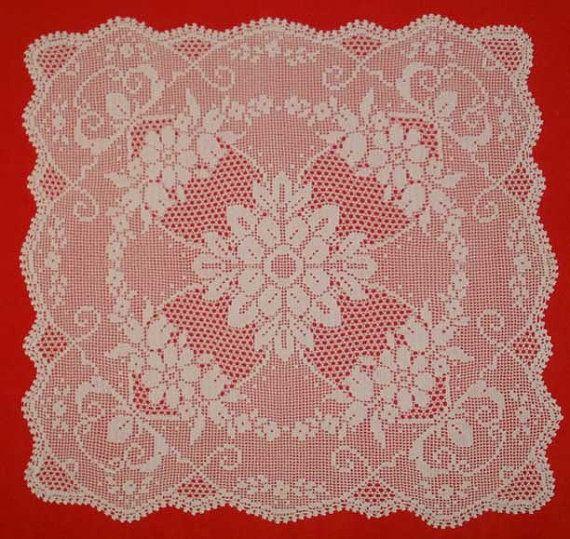 Crochet Pattern Chart Vintage Instant Download Doily Pdf Pattern Tablecloth Digital Pattern Filet Square Doily Egst Niatta
