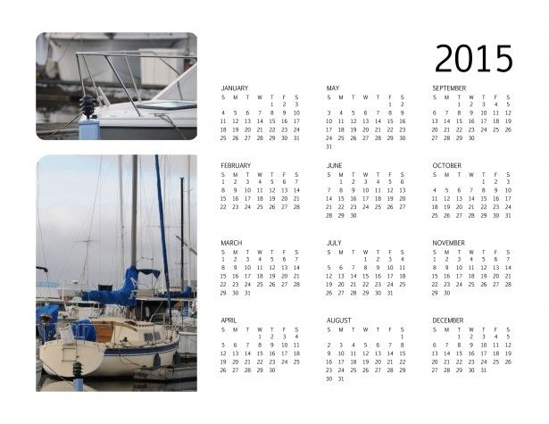 Peaceful harbors and boats captured in this 2015 annual calendar.