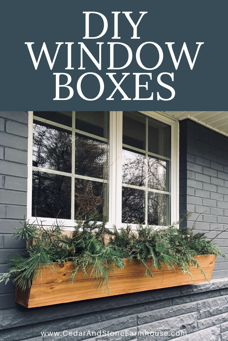 DIY Window Boxes - Add curb appeal to your house with these beautiful custom DIY window boxes! Cedar & Stone Farmhouse #curbappeal #diy#windowboxes