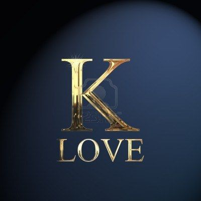 Gold Alphabet Letter K Word Love On A Blue Background K Is For Kay