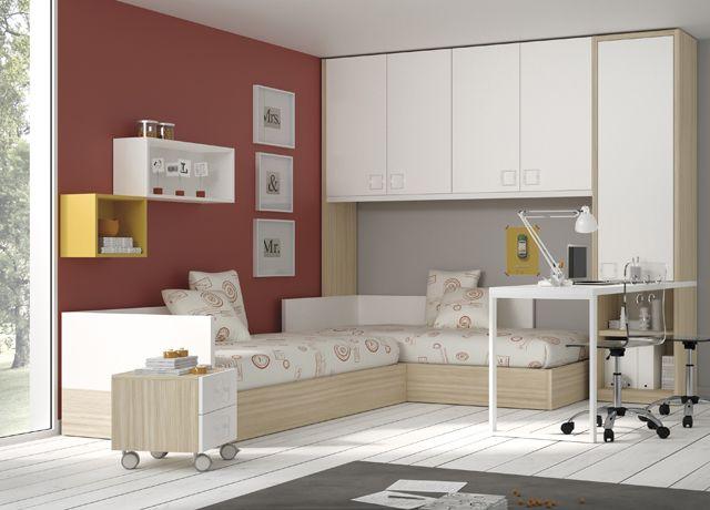 Camas nidos, con escritorio, estanterías y armario con puente ...