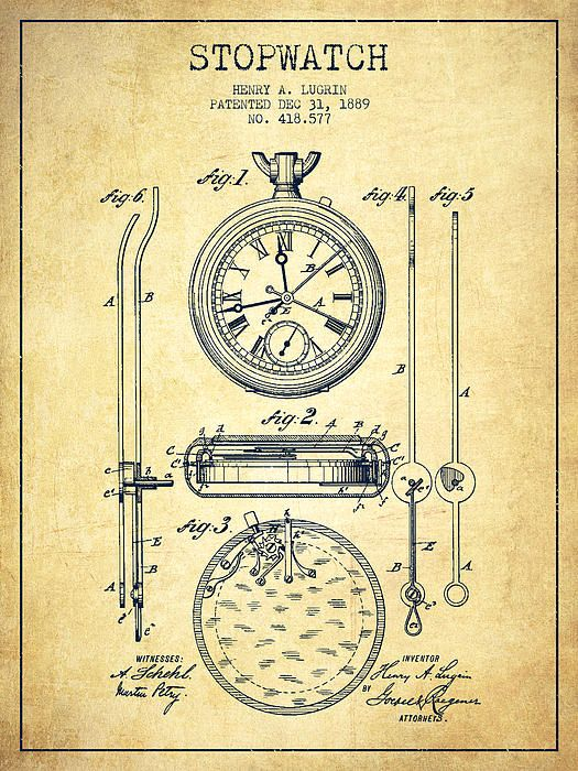 Vintage Patents Stopwatch Patent Drawing From 1889 Vintage
