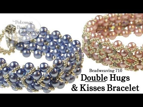 Pulsera de perlas azules. Hugs and kisses free bracelet tutorial.