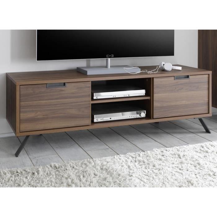 Meuble TV 2 portes Noyer - PALERME - L 156 x l 50