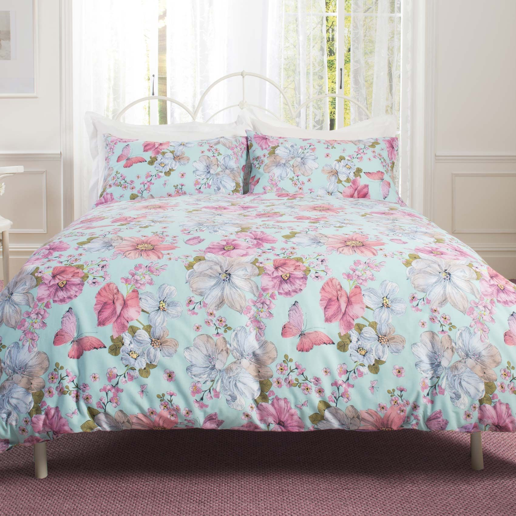patricia rose ditsy floral duvet cover set  aqua and pink floral  - patricia rose ditsy floral duvet cover set  aqua and pink floral beddingset