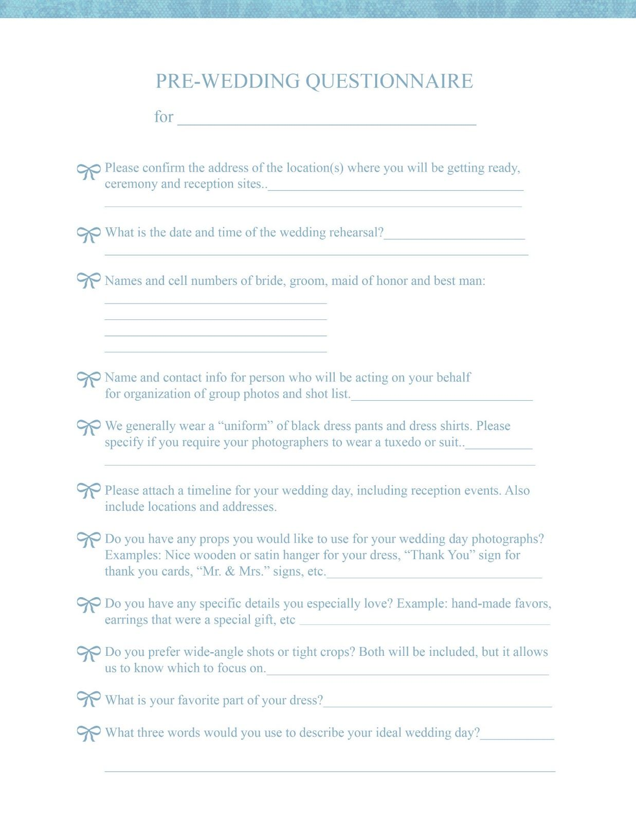 Wedding Photography Checklist For Clients