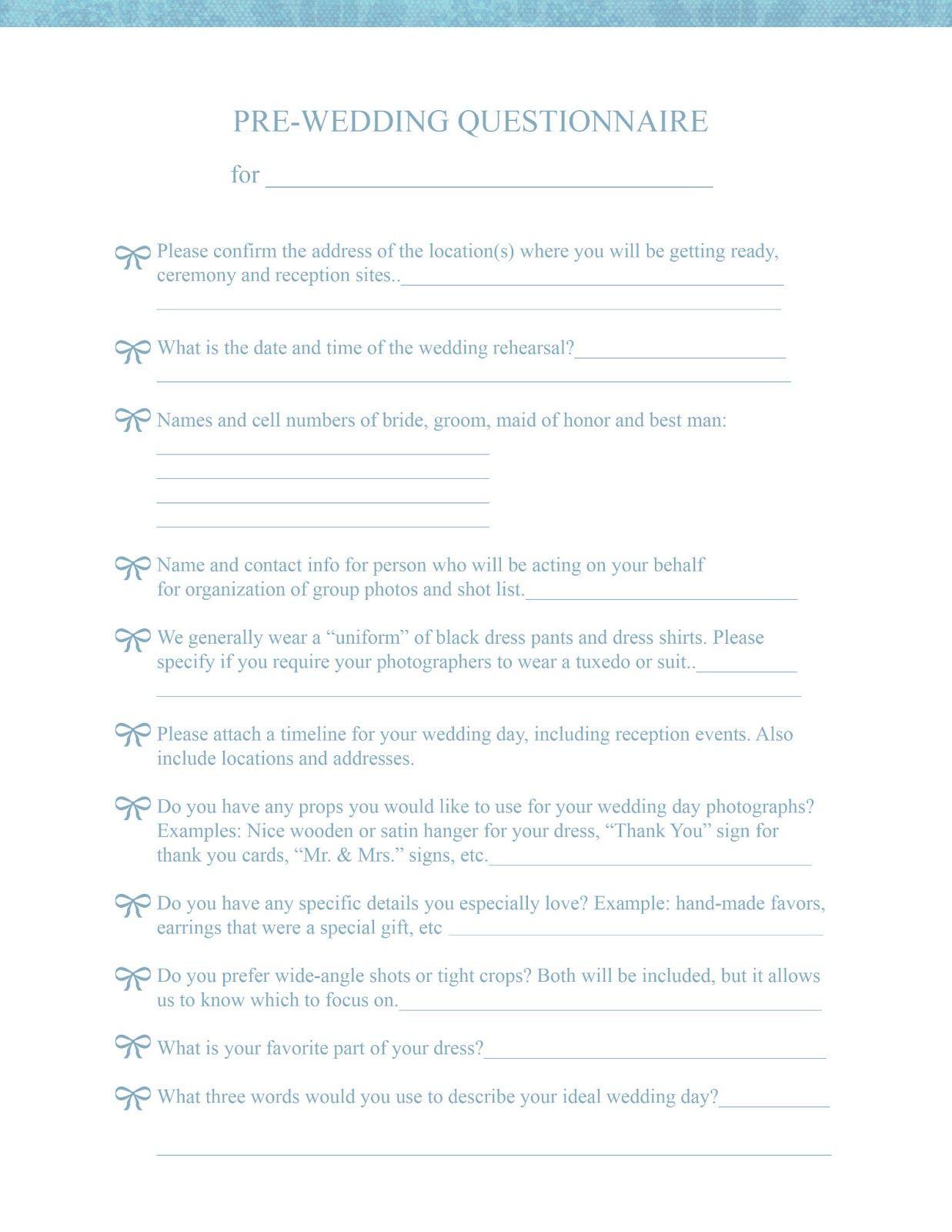 PreWedding Consultation Form  For Photographers  Angelhouse
