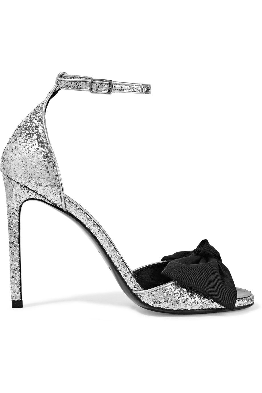 Heel measures approximately inches Silver glittered satin Buckle-fastening  ankle strap Made in Italy