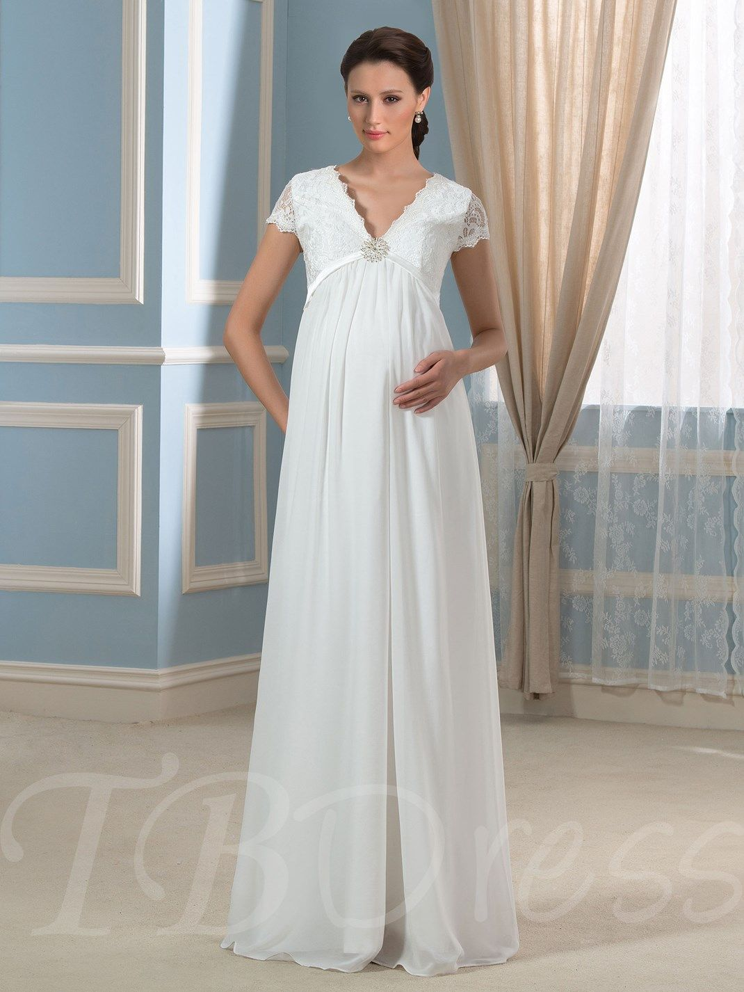 Cap Sleeve Empire Waist Lace Maternity Wedding Dress Lace Maternity Wedding Dresses Pregnant Wedding Dress Cheap Maternity Wedding Dresses